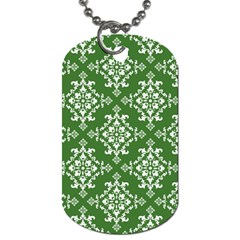 St Patrick S Day Damask Vintage Green Background Pattern Dog Tag (One Side)