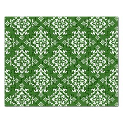 St Patrick S Day Damask Vintage Green Background Pattern Rectangular Jigsaw Puzzl
