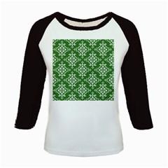 St Patrick S Day Damask Vintage Green Background Pattern Kids Baseball Jerseys