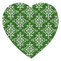 St Patrick S Day Damask Vintage Green Background Pattern Jigsaw Puzzle (Heart)