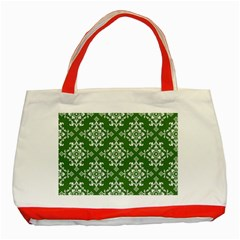 St Patrick S Day Damask Vintage Green Background Pattern Classic Tote Bag (Red)