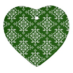 St Patrick S Day Damask Vintage Green Background Pattern Heart Ornament (Two Sides)