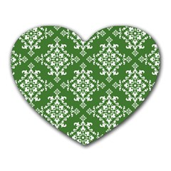 St Patrick S Day Damask Vintage Green Background Pattern Heart Mousepads