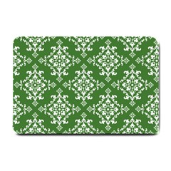St Patrick S Day Damask Vintage Green Background Pattern Small Doormat