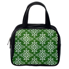 St Patrick S Day Damask Vintage Green Background Pattern Classic Handbags (one Side)