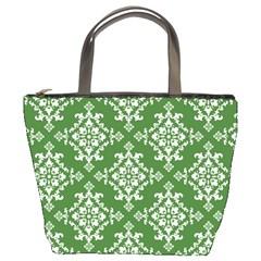 St Patrick S Day Damask Vintage Green Background Pattern Bucket Bags