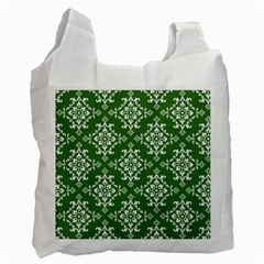 St Patrick S Day Damask Vintage Green Background Pattern Recycle Bag (Two Side)