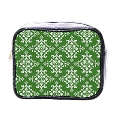 St Patrick S Day Damask Vintage Green Background Pattern Mini Toiletries Bags