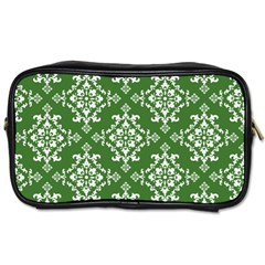 St Patrick S Day Damask Vintage Green Background Pattern Toiletries Bags 2 Side