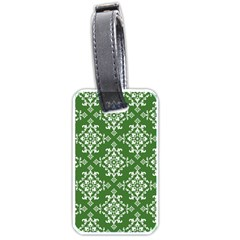 St Patrick S Day Damask Vintage Green Background Pattern Luggage Tags (Two Sides)