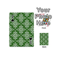 St Patrick S Day Damask Vintage Green Background Pattern Playing Cards 54 (Mini)