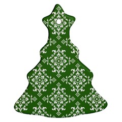 St Patrick S Day Damask Vintage Green Background Pattern Christmas Tree Ornament (Two Sides)