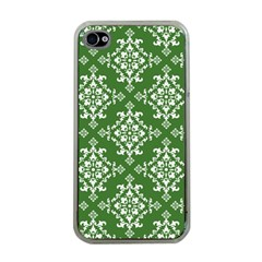 St Patrick S Day Damask Vintage Green Background Pattern Apple iPhone 4 Case (Clear)