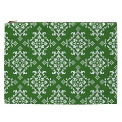 St Patrick S Day Damask Vintage Green Background Pattern Cosmetic Bag (xxl)