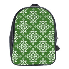 St Patrick S Day Damask Vintage Green Background Pattern School Bags (xl)