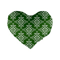St Patrick S Day Damask Vintage Green Background Pattern Standard 16  Premium Heart Shape Cushions