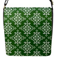 St Patrick S Day Damask Vintage Green Background Pattern Flap Messenger Bag (S)