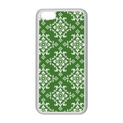 St Patrick S Day Damask Vintage Green Background Pattern Apple iPhone 5C Seamless Case (White)