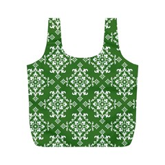 St Patrick S Day Damask Vintage Green Background Pattern Full Print Recycle Bags (M)