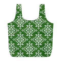 St Patrick S Day Damask Vintage Green Background Pattern Full Print Recycle Bags (L)