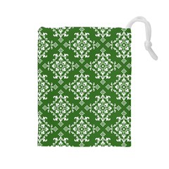 St Patrick S Day Damask Vintage Green Background Pattern Drawstring Pouches (large)