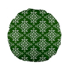 St Patrick S Day Damask Vintage Green Background Pattern Standard 15  Premium Flano Round Cushions