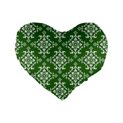 St Patrick S Day Damask Vintage Green Background Pattern Standard 16  Premium Flano Heart Shape Cushions