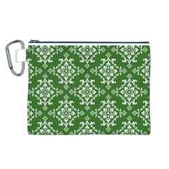 St Patrick S Day Damask Vintage Green Background Pattern Canvas Cosmetic Bag (l)