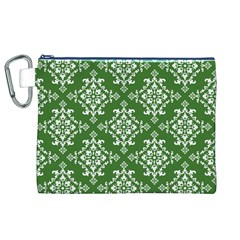 St Patrick S Day Damask Vintage Green Background Pattern Canvas Cosmetic Bag (XL)