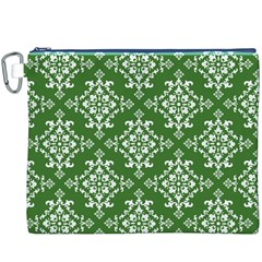 St Patrick S Day Damask Vintage Green Background Pattern Canvas Cosmetic Bag (XXXL)