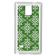 St Patrick S Day Damask Vintage Green Background Pattern Samsung Galaxy Note 4 Case (white)