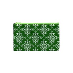 St Patrick S Day Damask Vintage Green Background Pattern Cosmetic Bag (XS)