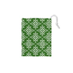 St Patrick S Day Damask Vintage Green Background Pattern Drawstring Pouches (XS)