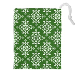 St Patrick S Day Damask Vintage Green Background Pattern Drawstring Pouches (xxl)