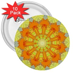 Sunshine Sunny Sun Abstract Yellow 3  Buttons (10 pack)
