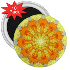 Sunshine Sunny Sun Abstract Yellow 3  Magnets (10 Pack)
