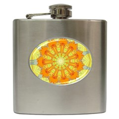 Sunshine Sunny Sun Abstract Yellow Hip Flask (6 Oz)