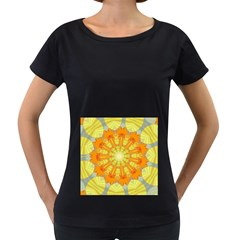 Sunshine Sunny Sun Abstract Yellow Women s Loose-Fit T-Shirt (Black)