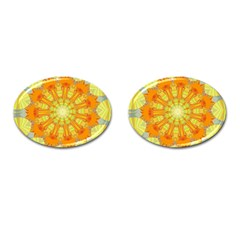 Sunshine Sunny Sun Abstract Yellow Cufflinks (oval)