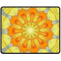 Sunshine Sunny Sun Abstract Yellow Fleece Blanket (Medium)