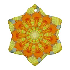 Sunshine Sunny Sun Abstract Yellow Snowflake Ornament (Two Sides)