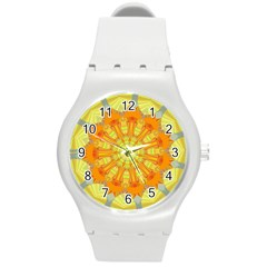 Sunshine Sunny Sun Abstract Yellow Round Plastic Sport Watch (m)