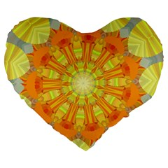 Sunshine Sunny Sun Abstract Yellow Large 19  Premium Heart Shape Cushions