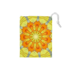 Sunshine Sunny Sun Abstract Yellow Drawstring Pouches (Small)