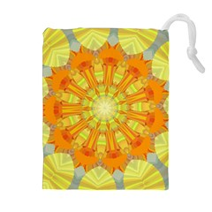Sunshine Sunny Sun Abstract Yellow Drawstring Pouches (Extra Large)