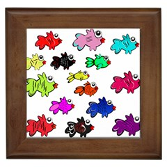 Fishes Marine Life Swimming Water Framed Tiles