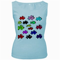 Fishes Marine Life Swimming Water Women s Baby Blue Tank Top