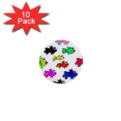 Fishes Marine Life Swimming Water 1  Mini Buttons (10 Pack)