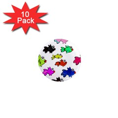 Fishes Marine Life Swimming Water 1  Mini Magnet (10 Pack)