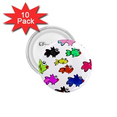 Fishes Marine Life Swimming Water 1 75  Buttons (10 Pack)